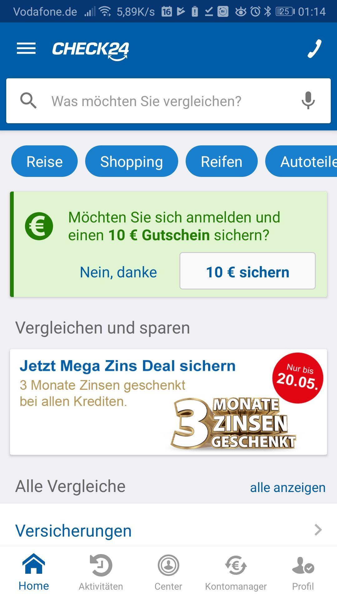 Check24 App 10€ Gutschein direkt verwendbar, evtl nur Neukunde