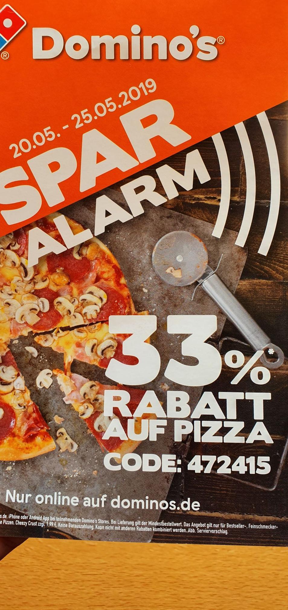 Dominos 33% Gutscheincode auf Pizza Bestellungen vom 20-25.05