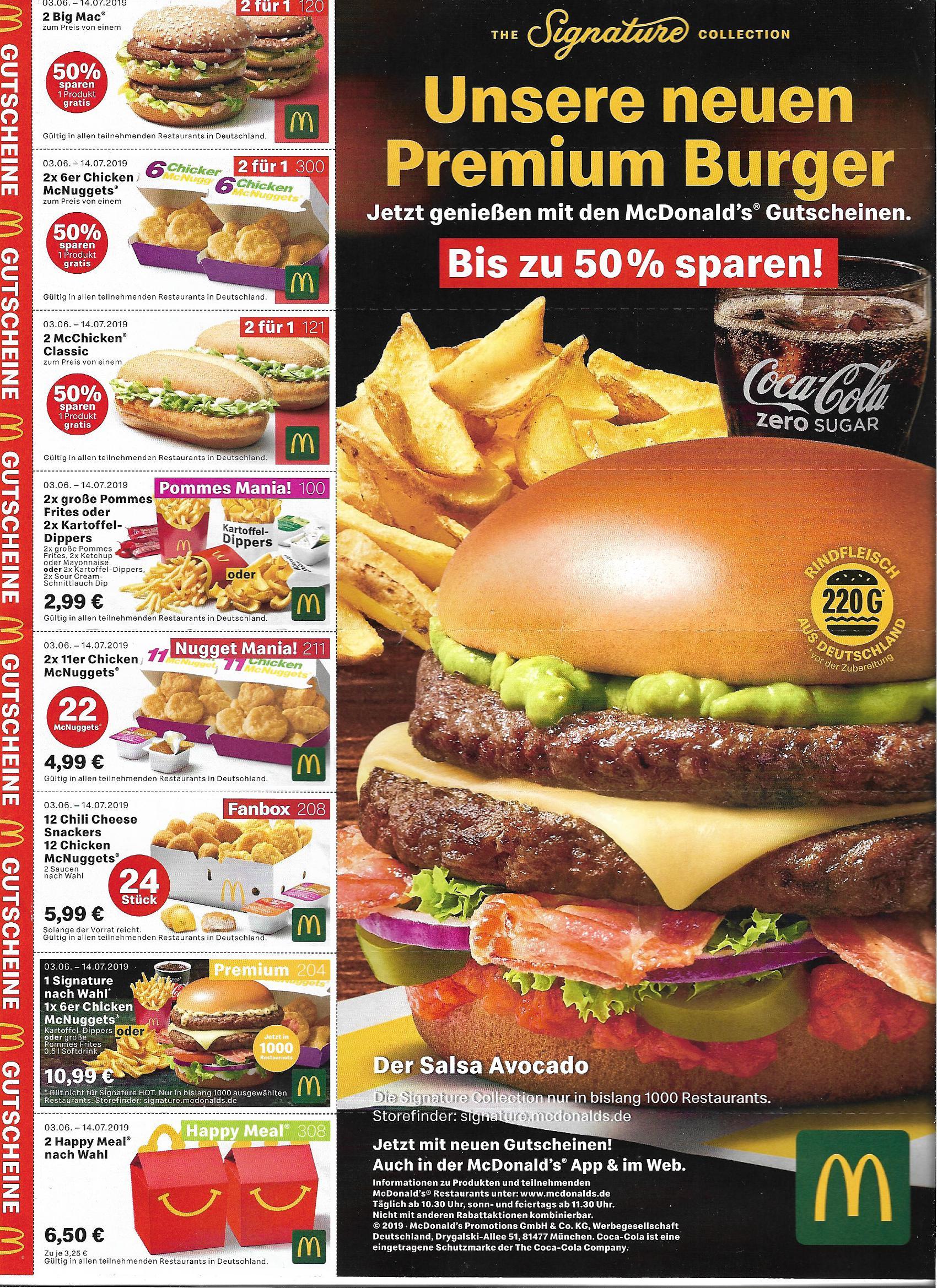 [McDonald's] Gutscheine/Coupons ab 03.06.219 - 14.07.2019