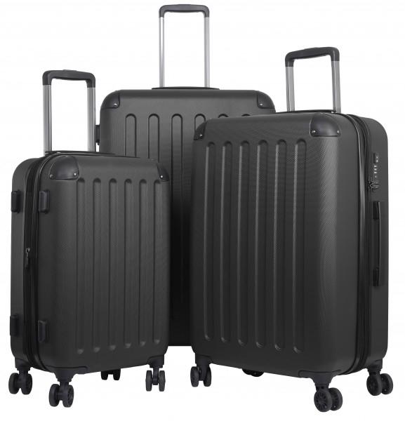 Reisekoffer Gepäckset mit 3 Hartschalen-Koffer, Trolley mit TSA-Schloß, Zwillingsrollen in div. Farben