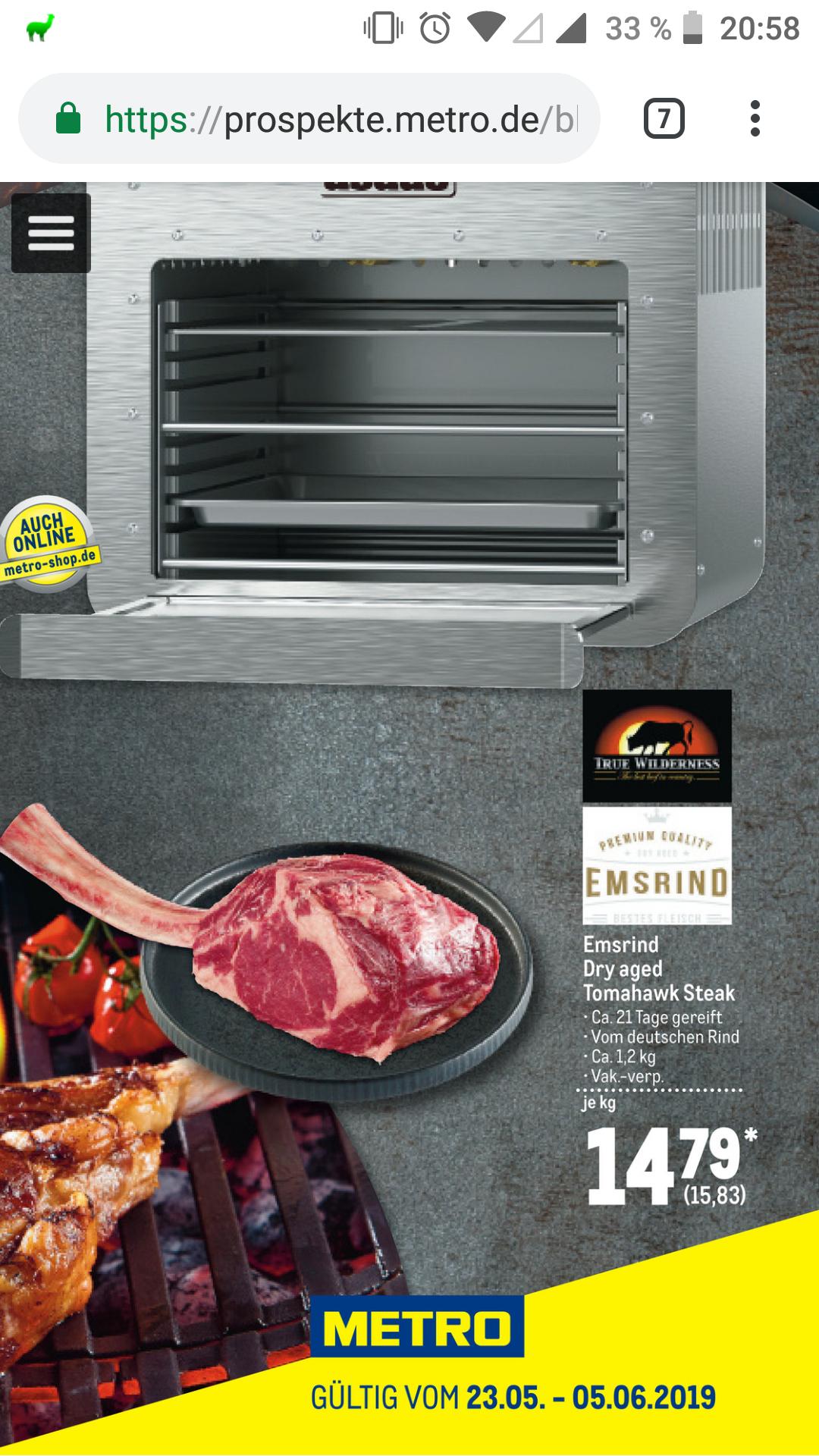 [METRO] EMSRIND Dry Aged Tomahawk Steak kg-Preis 15,83 €