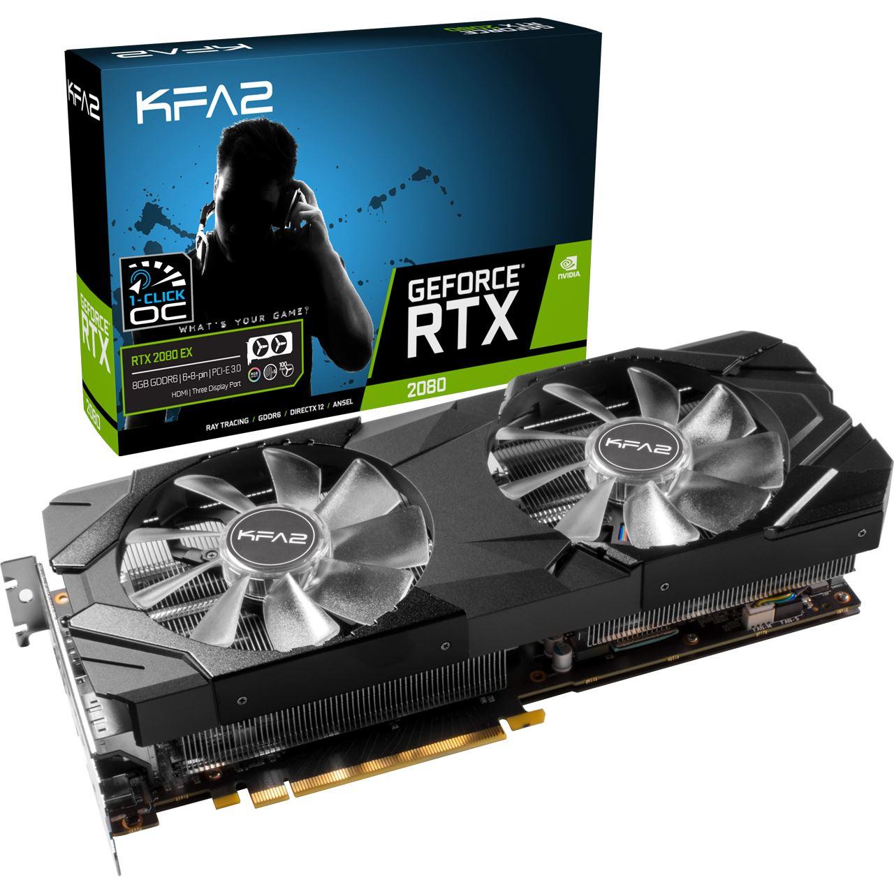 8GB KFA2 GeForce RTX 2080 EX (1-Click OC) Aktiv PCIe 3.0 x16 (Retail)