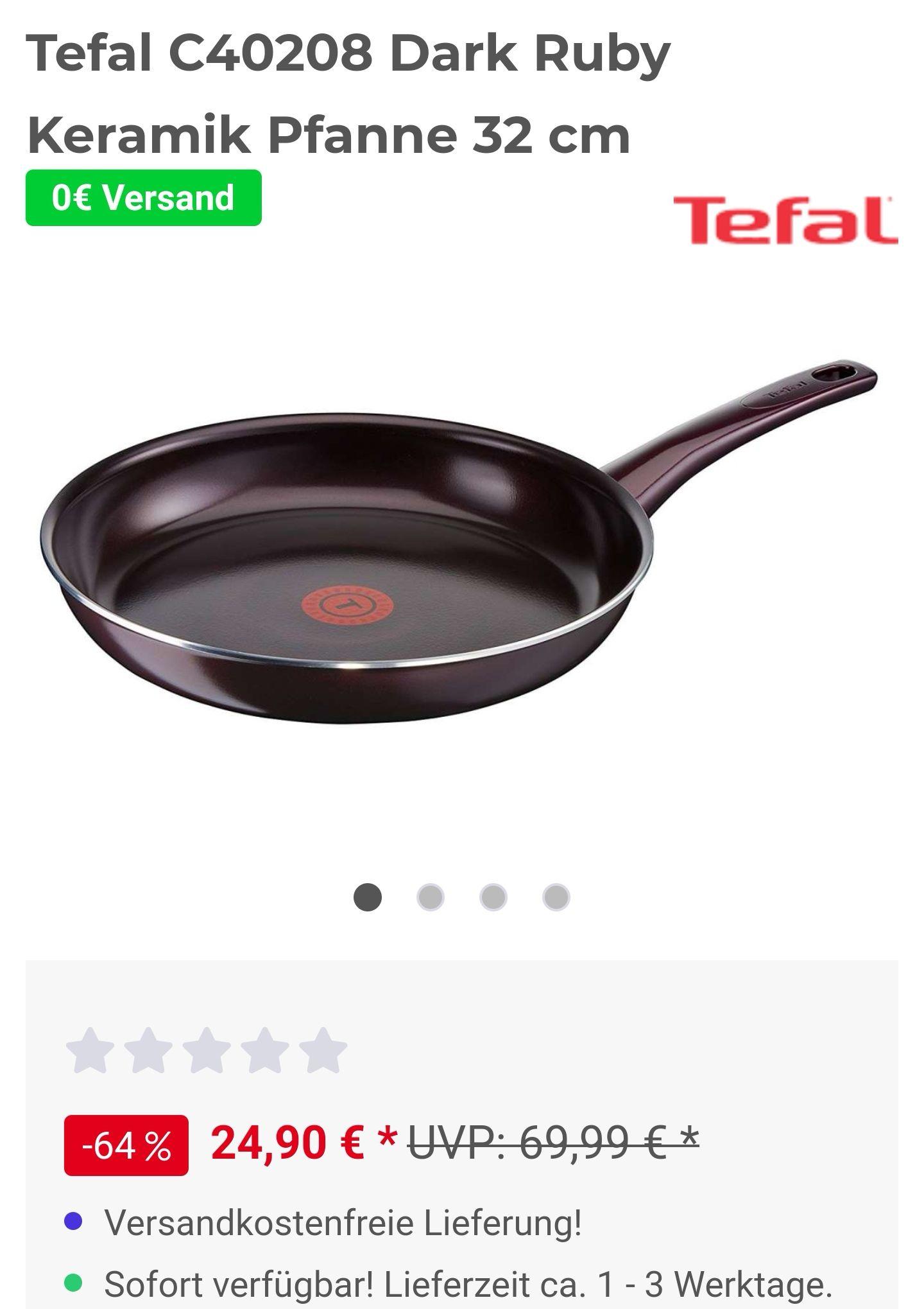 TEFAL C40208 Dark Ruby Bratpfanne (Aluminium, Beschichtung: Keramik, 320 mm) Versandkostenfreie Lieferung!