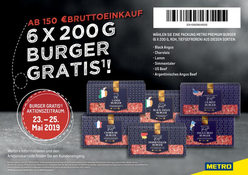 [Metro] ab 150 EUR Brutto 6x 200g Burger gratis