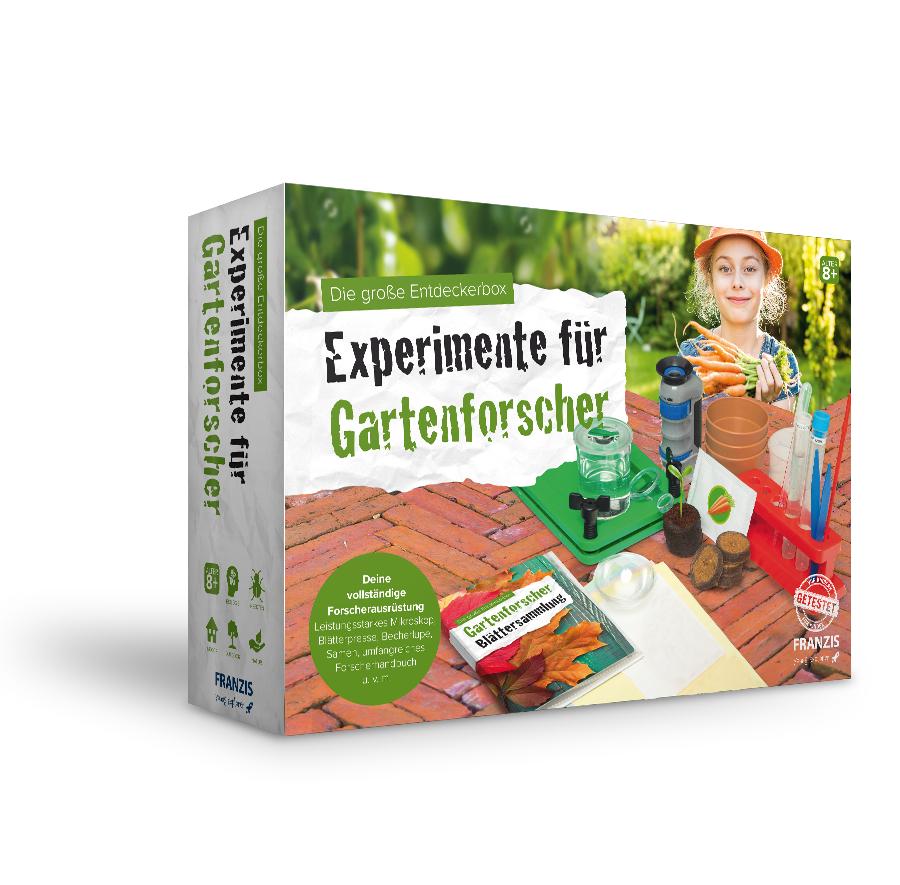 Franzis: Experimente für Gartenforscher - Die große Entdeckerbox (Mikroskop, Becherlupe, Samen, Töpfe, Handbuch, u.v.m.)