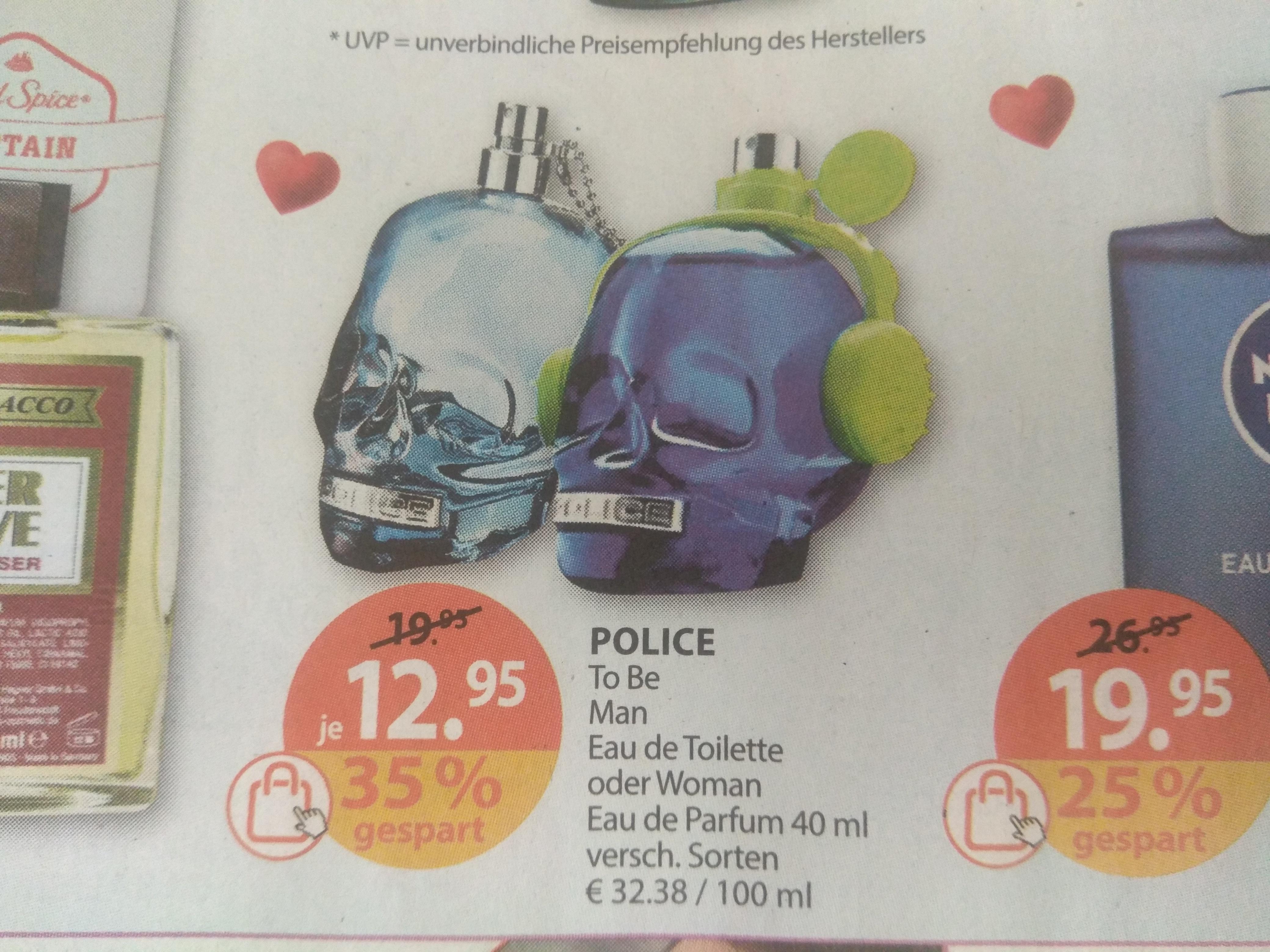 [Müller Drogeriemarkt] POLICE To Be Eau de Toilette oder Woman Eau de Parfum 40 ml versch. Sorten ( 20.-25.05.2019)