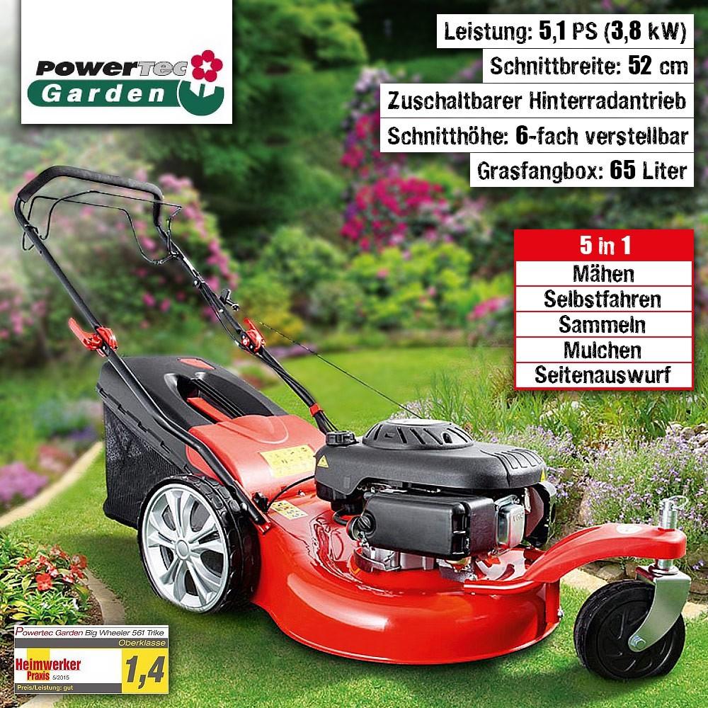 Powertec Garden Benzin- Rasenmäher 5in1, Big Wheeler 561 Trike