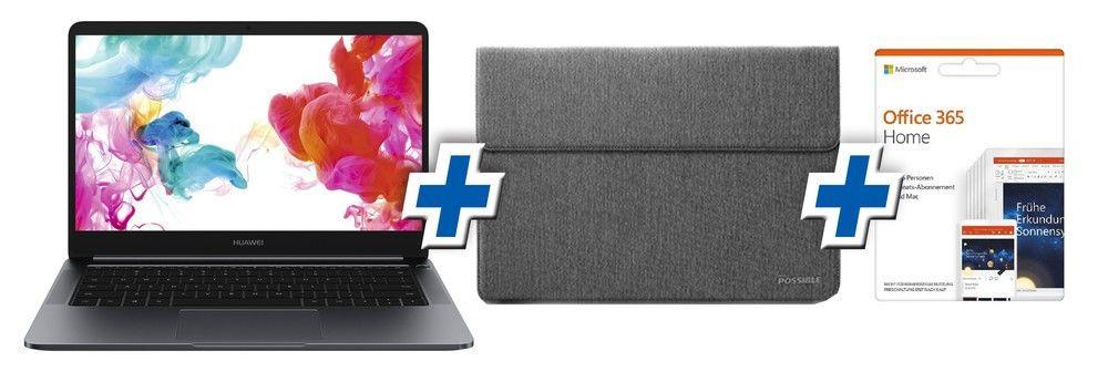 "Huawei MateBook D + Tasche + Office 365 Home (14"", IPS, FHD, Ryzen 5 2500U, 8GB RAM, 256GB SSD, HDMI, USB-C, beleuchtete Tastatur, Win10)"