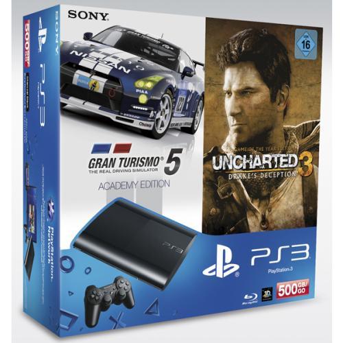 Playstation 3 500GB SuperSlim Bundle GranTurismo5+Uncharted3 @Real