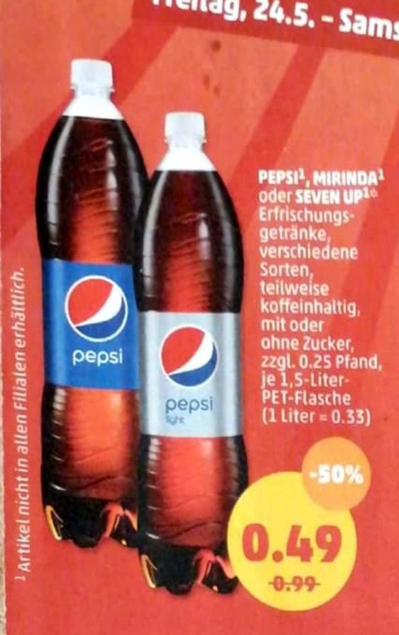 [Penny] 24.5-25.5 Pepsi, 7Up, Mirinda 1.5L für je 0.49€ die Flasche