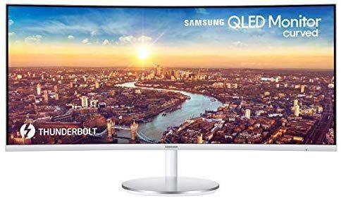 Samsung C34J791W 86,36 cm (34 Zoll) Curved Monitor WQHD Thunderbolt-3 Silber/Weiß [Amazon Prime Blitzangebot]