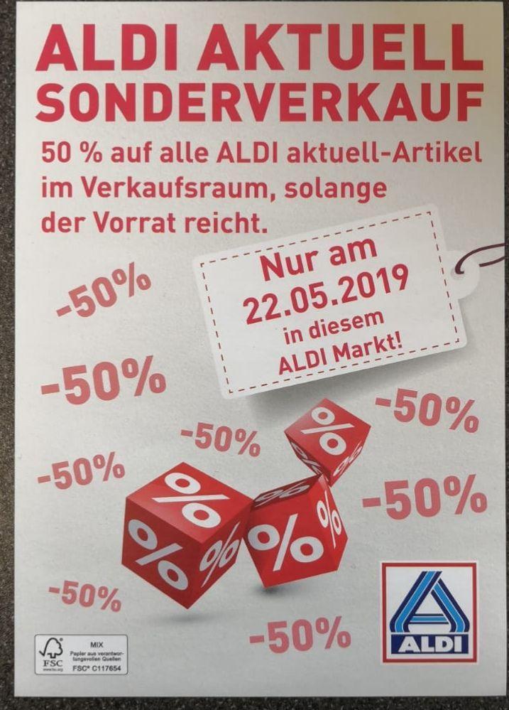 (Lokal, Münsterland - Ahaus, Vreden, Osnabrück, Münster... ) am Mittwoch den 22.05.2019 , 50% auf alles Aldi Aktuell aus dem Verkaufsraum.