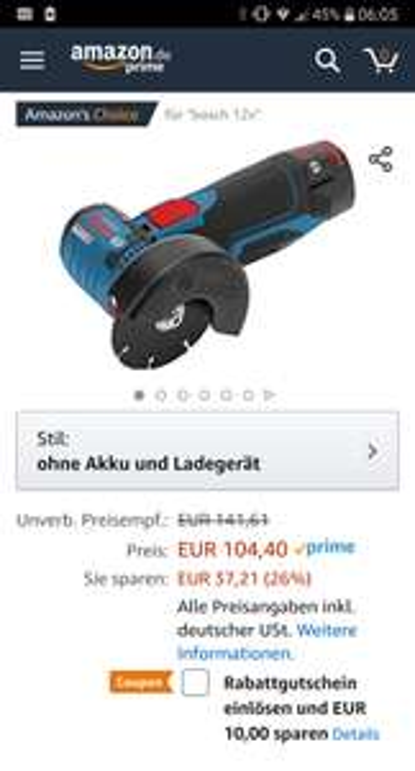 Bosch Professional GWS 12V-76 Akku-Winkelschleifer (ohne Akku, ohne Ladegerät, Scheibendurchmesser: 76 mm in L-BOXX) 06019F2003