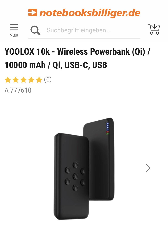 NBB TAGESDEAL: YOOLOX 10K Wireless Powerbank