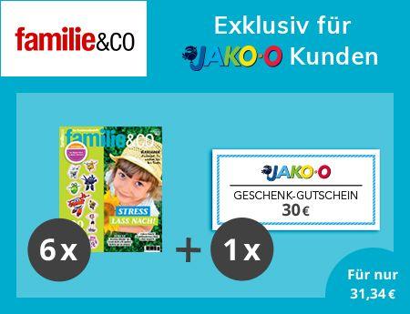 [Familie&Co] 6 Ausgaben Familie&Co + 30€ Jako-O Gutschein