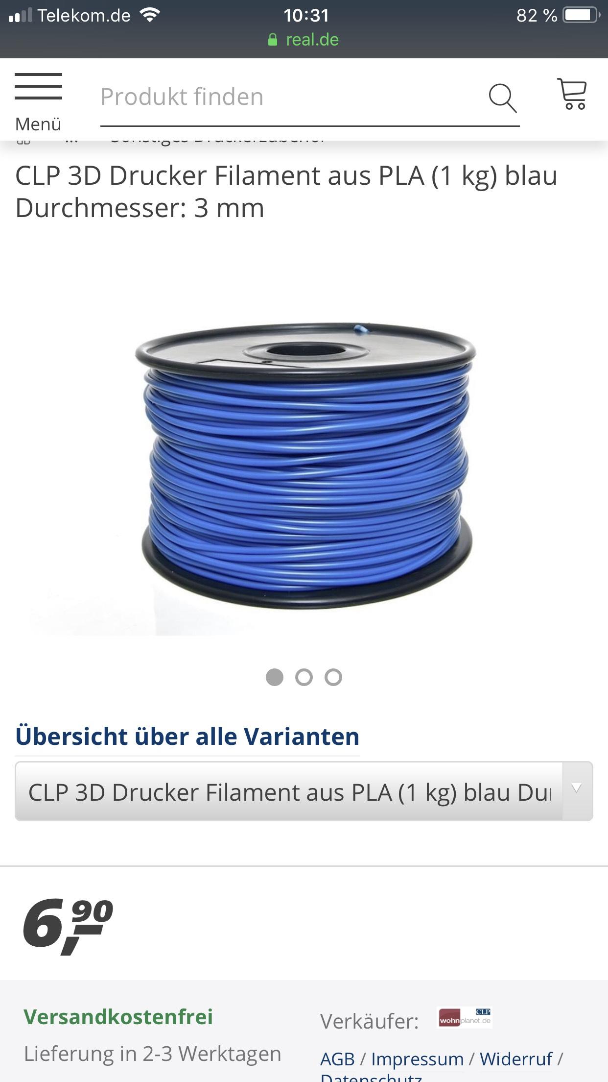 PLA 3 mm Filament 3D Print 1KG