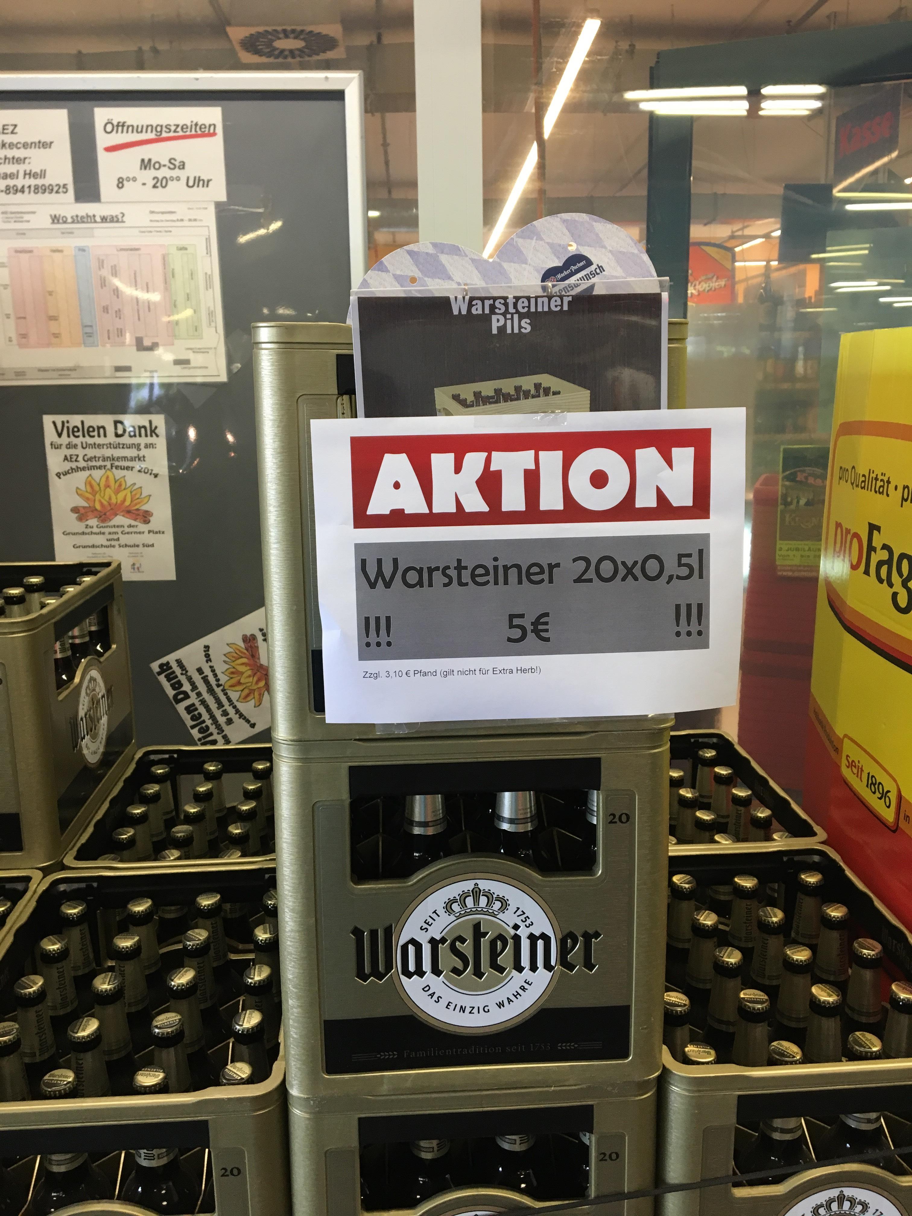 [lokal AEZ Puchheim] Warsteiner Aktion 20x0,5l MHD 20.5.