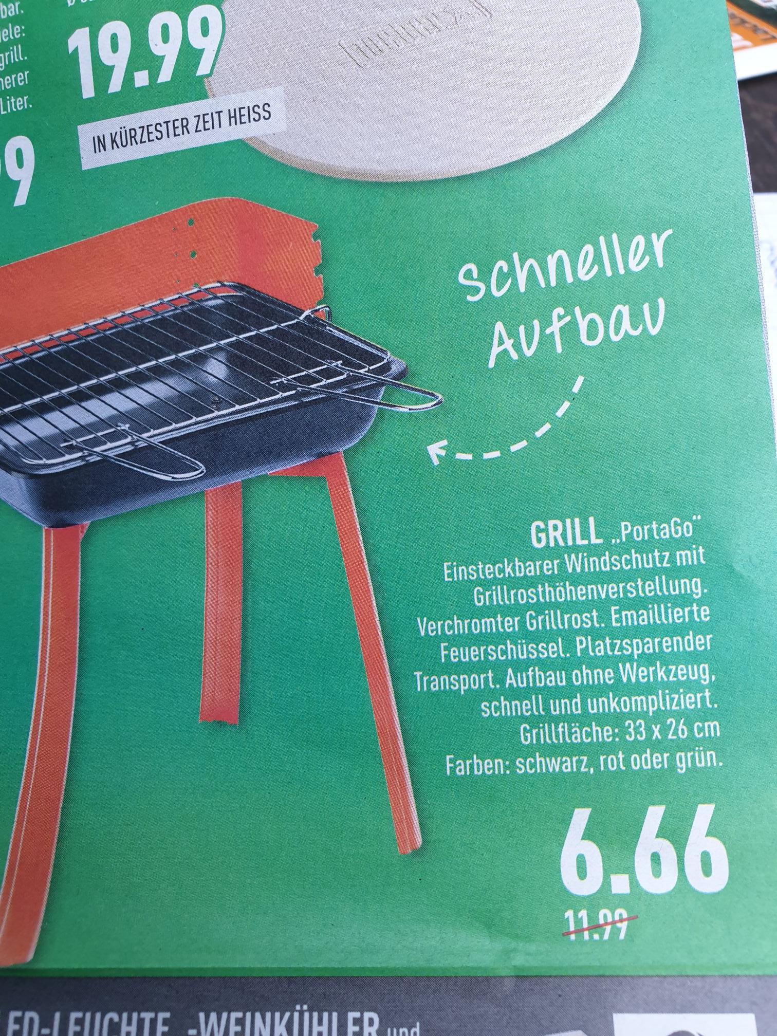 (Lokal Marktkauf NRW evtl. bundesweit) Landmann 11526? Grill PortaGo in 3 Farben für 6,66€ Vatertag