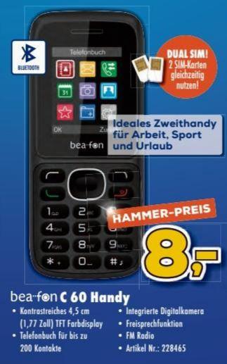 [Lokal - Euronics Berlet Filialen NRW] Bea Fon C60 Handy mit Dual Sim Funktion für 8€