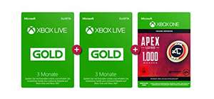 Xbox Live Gold Mitgliedschaft 6 Monate + APEX Legends: 1.000 Coins [Amazon UK]