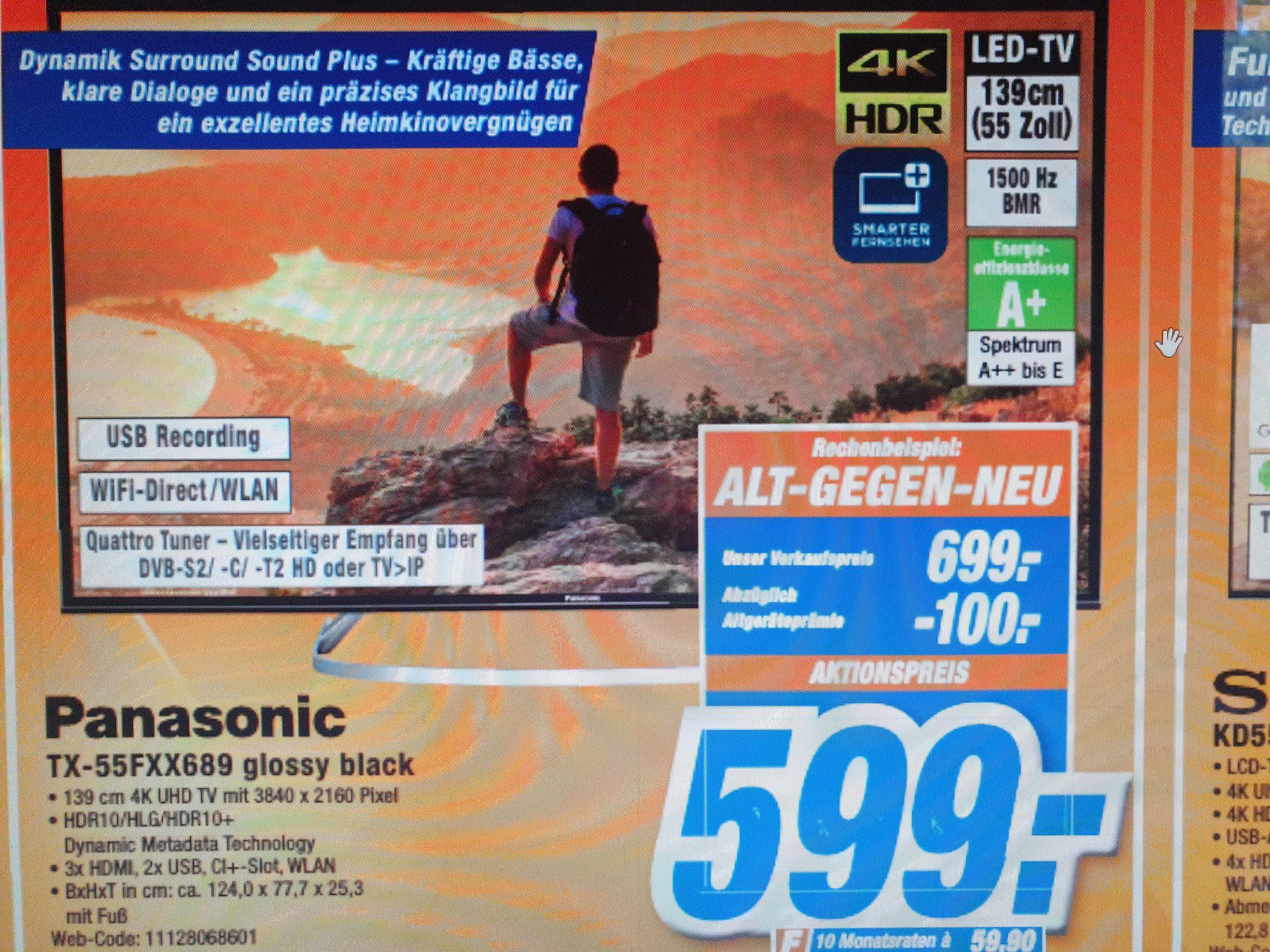 Panasonic TX 55 FXX 689 glossy black für 599€, auch online mit Versand