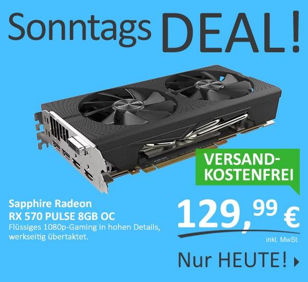 Deal des Tages: Sapphire Radeon RX 570 PULSE 8GB OC für 129,99€ VSK-frei