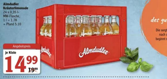 24 Almdudler Glasflaschen im Kasten (Lokal Globus Forchheim)