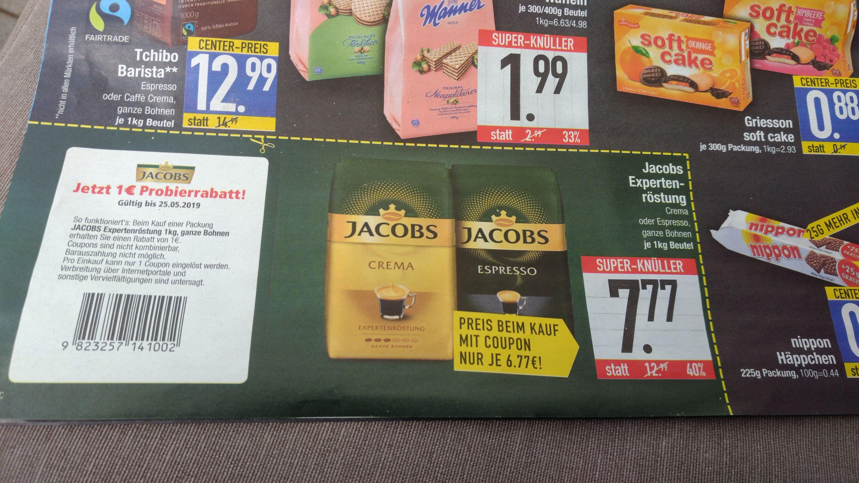 Jacobs Expertenröstung 1Kg Crema o. Espresso ganze Bohne evtl. Lokal