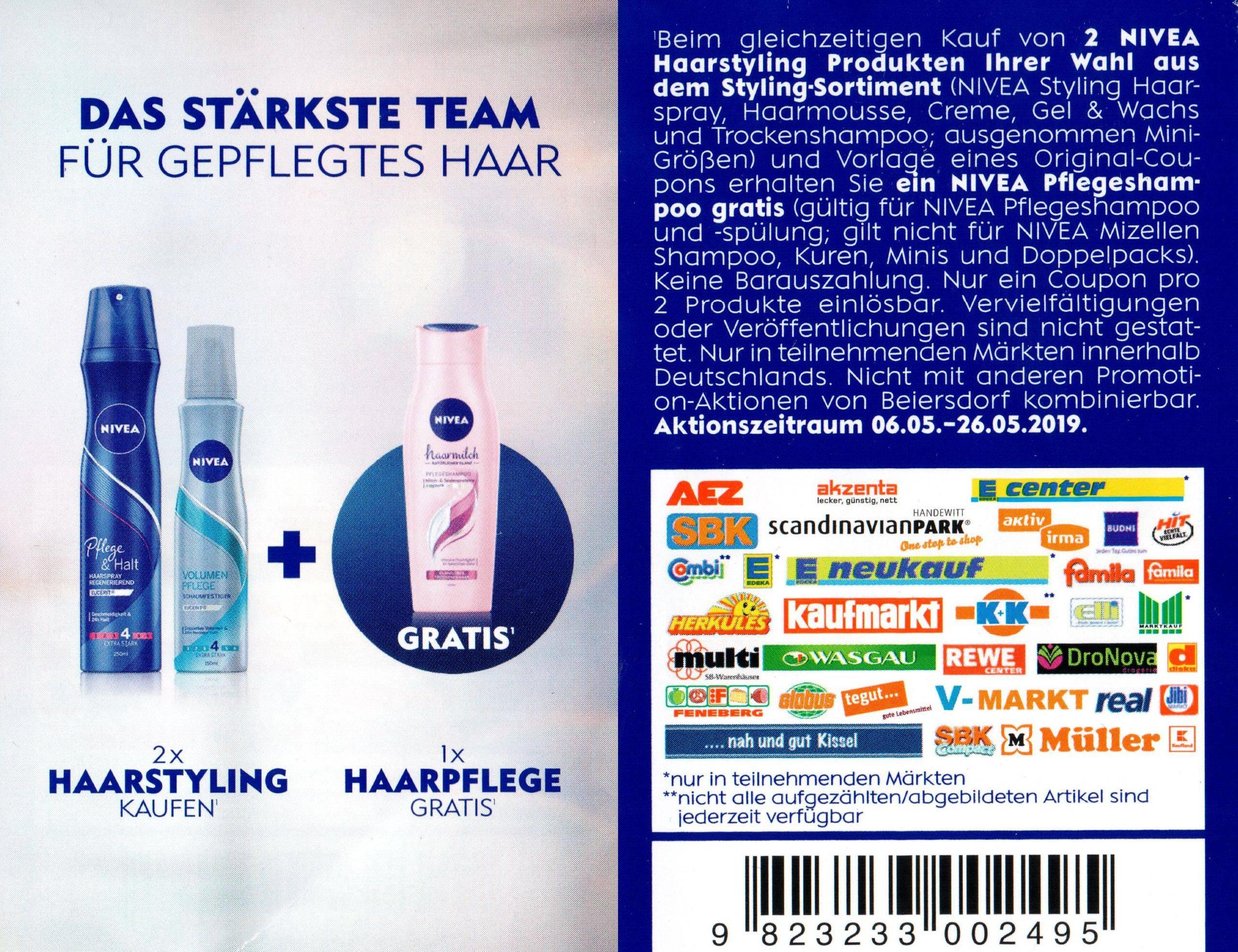 Sofort-Rabatt Coupon für 1 Gratis Nivea Haarpflegeprodukt für den Kauf von 2 Nivea Styling-Produkten bis 26.05.2019