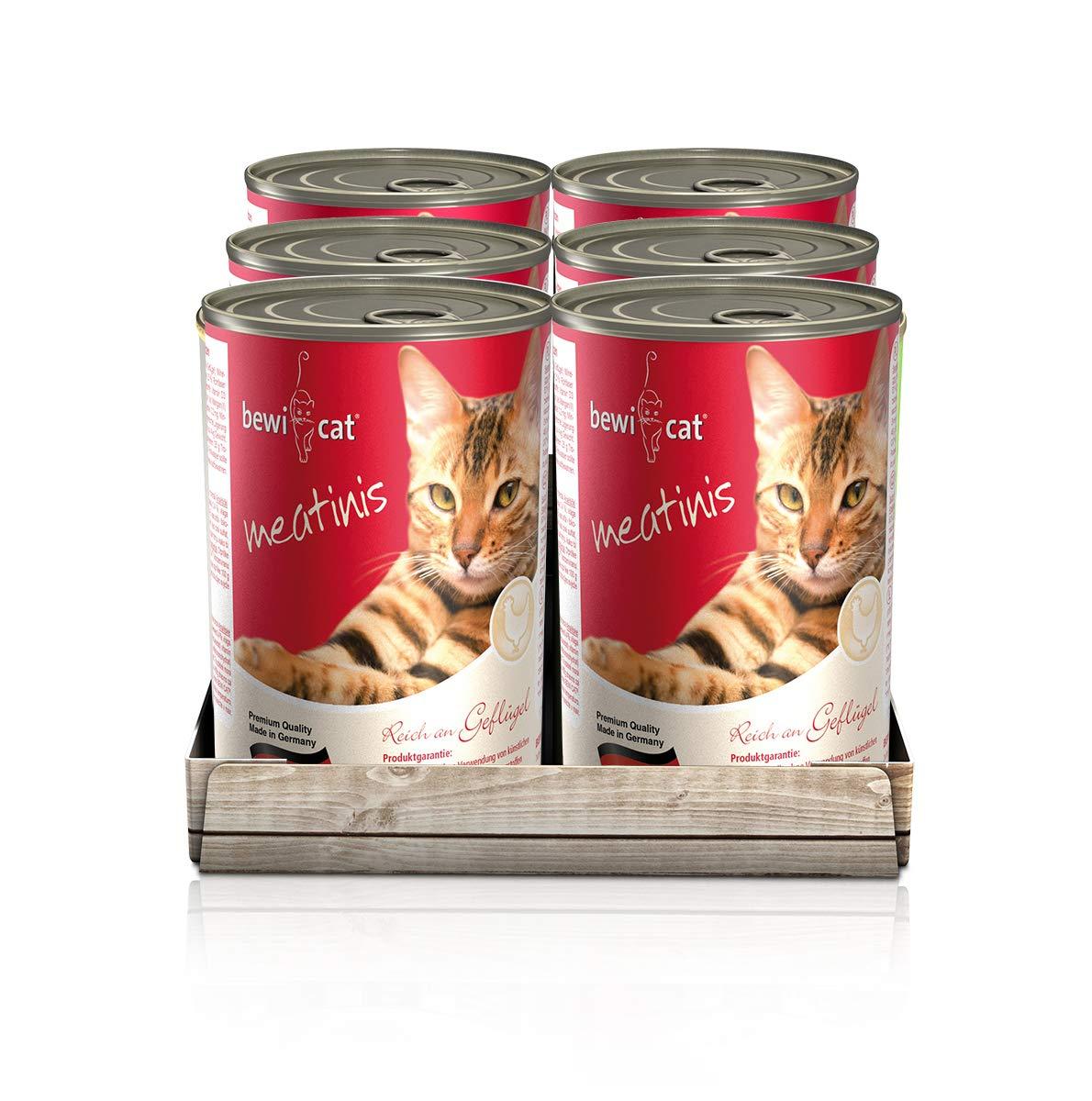 bewi cat Meatinis Geflügel & Wild 6x 400 g Dose Nassfutter für Katzen [Amazon Prime]