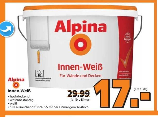 Alpina Innenweiß für Wand und Decke 10l