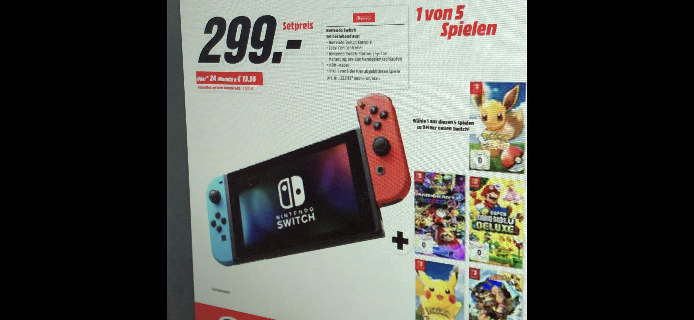 [Vorankündigung] Nintendo Switch + 1 von 5 Spielen für 299€ @Media Markt bundesweit ab 22.05.2019 stationär & online