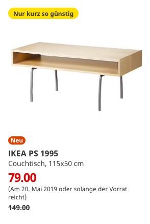 (IKEA Bremerhaven am 20.05.) IKEA PS 1995 Couchtisch Birke weiß 115x50 cm