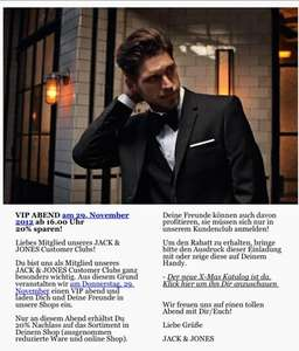 Jack & Jones - 20% in den Stores [D] am 29.11.2012 ab 16 Uhr