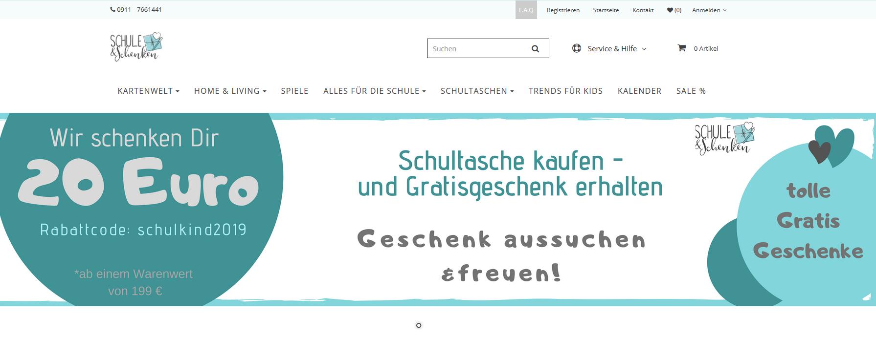20€ Rabatt Gutschein für alle Artikel bei - schuleundschenken- ab 199€ Bestellwert