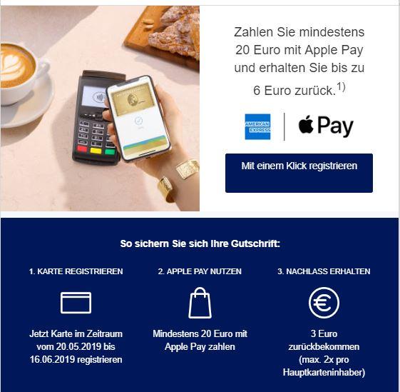 Amex Apple Pay bis zu 6 € Cashback 2x min.20 Euro mit Apple Pay bezahlen