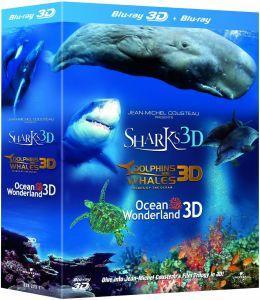 (UK) Jean-Michel Cousteau's 3D-Box ( Delfine und Wale, Haie, Weltwunder der Ozeane)  (3 Disks) für 13.53€ @ zavvi