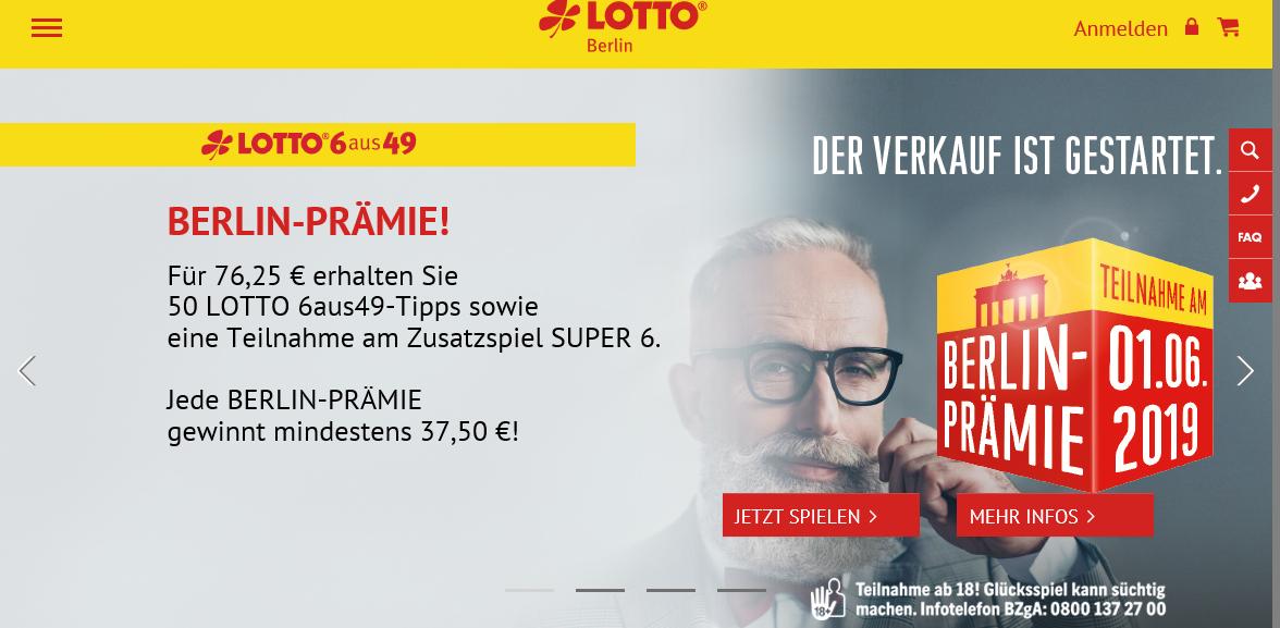 [Lokal] Lotto Berlin - Berlin-Prämie 50 Tipps 6 aus 49 für 76,25€ abzgl. 37,50€ garantierter Gewinn !!