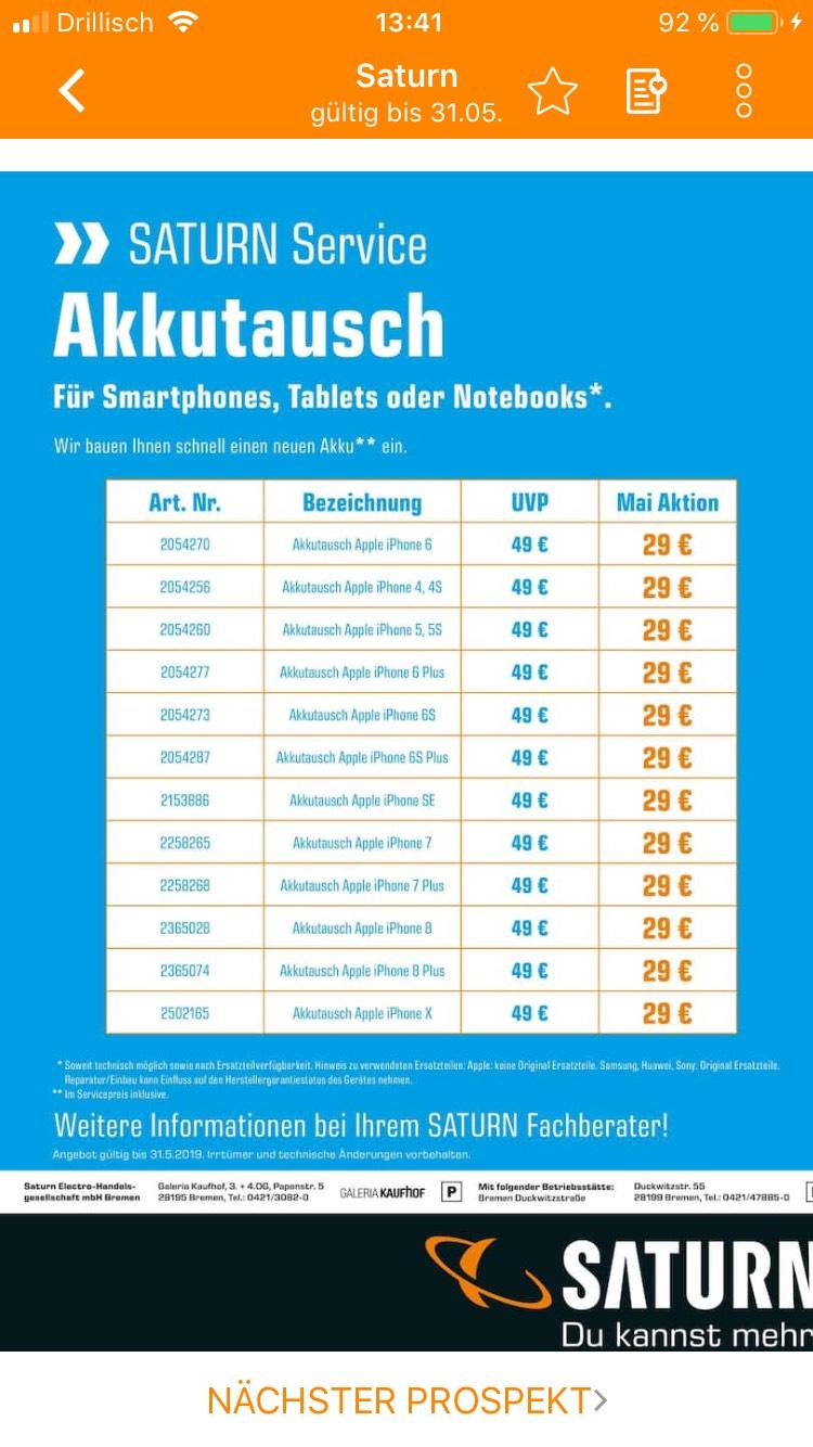 [Lokal?] Saturn Bremen IPhone Akkutausch 29€