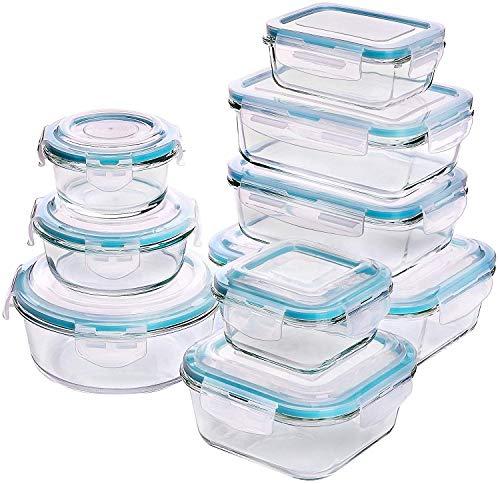 Utopia Kitchen Glas-Frischhaltedosen-Set (9 tlg., BPA-frei, Gummidichtung, Clip-Verschluss) [Prime]