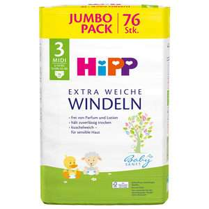 [real Lieferdienst] HIPP Windeln Jumbopack (z.B. Midi 76 Stk.)