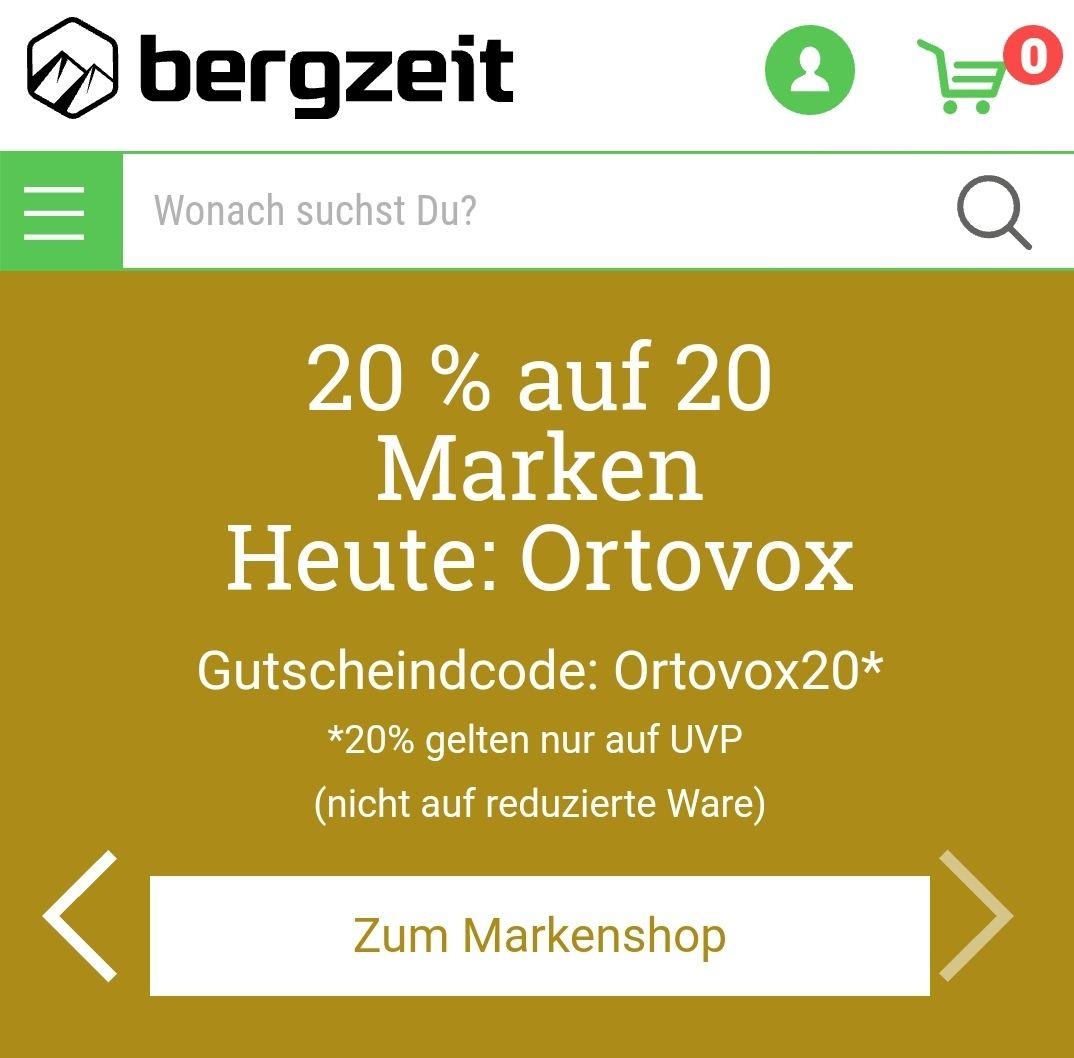 20% auf Ortovox Artikel bei Bergzeit.de