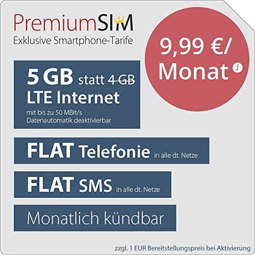 PremiumSIM LTE M Allnet Flat 4 GB + 1 GB extra für mtl. 9,99€ - monatl. kündbar, Telefonica-Netz