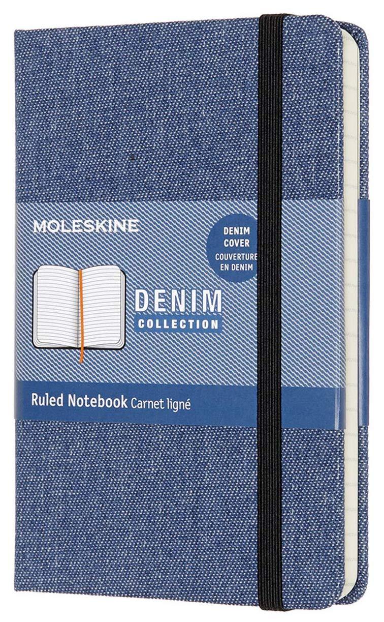 Moleskine A6 Notizbuch liniert mit Denimeinband (100 g/m², elfenbeinfarbenes Papier)