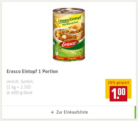 Verschiedene Erasco Eintöpfe und Suppen bei Rewe