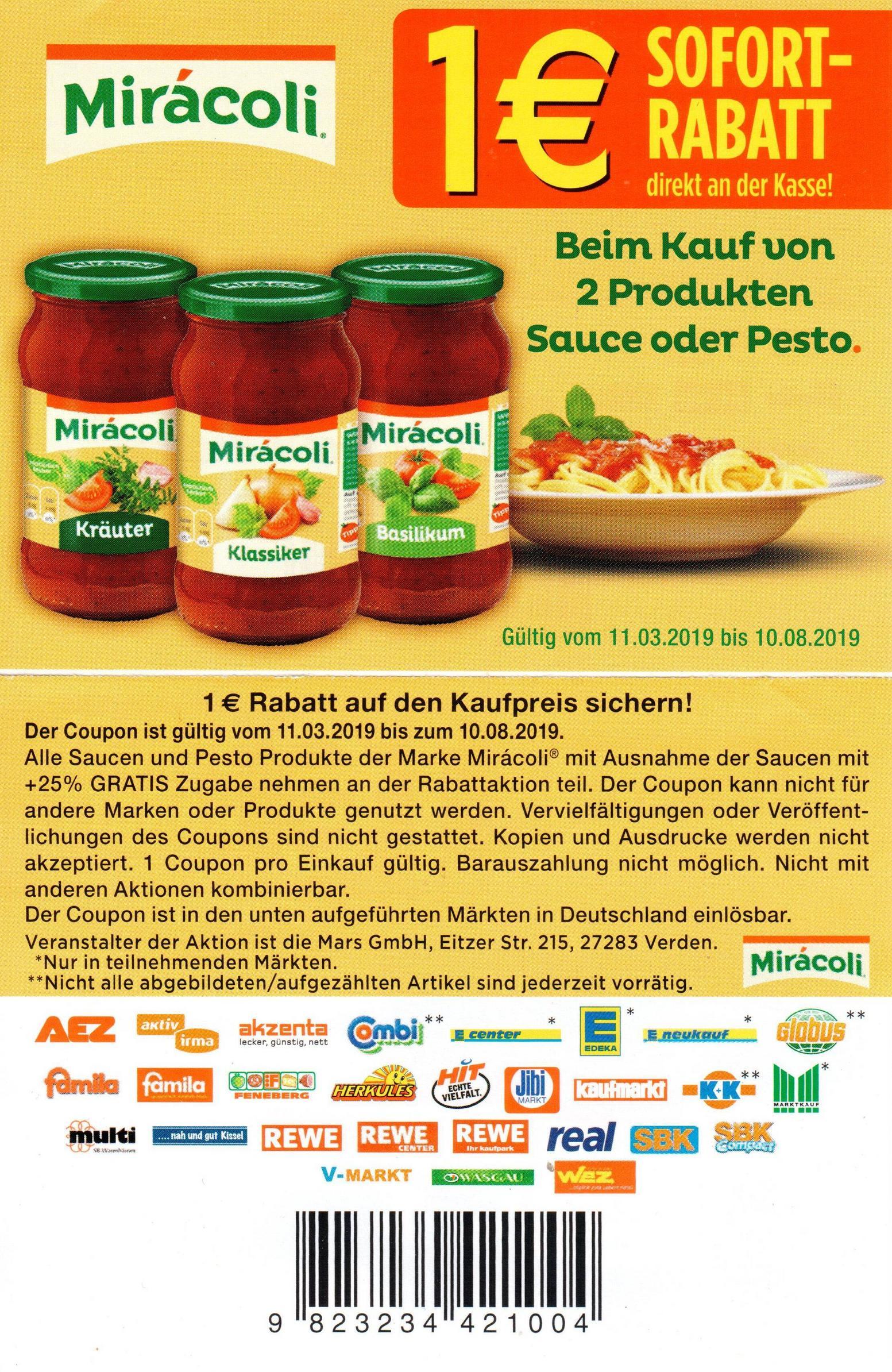 1,00€ Prospekt-Coupon für 2x Miracoli Pastasauce oder Pesto bis 10.08.2019