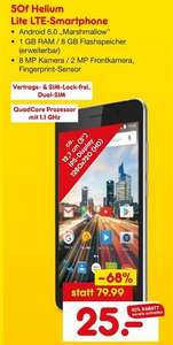 [Lokal - Netto Marken-Discount Köln, Hamburg, Rostock] Archos 50f Helium Lite LTE 5 Zoll Smartphone für 25€ ab dem 21.5
