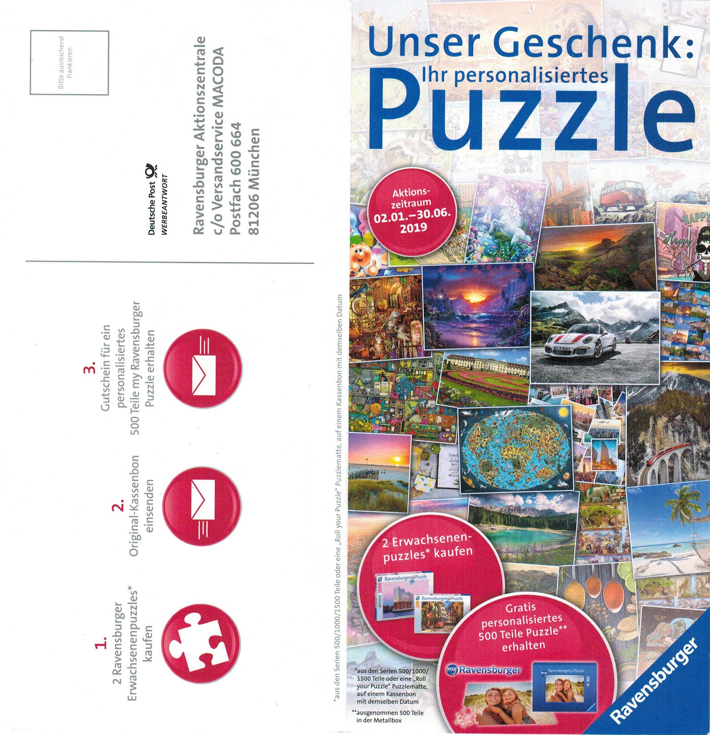 my Ravensburger personalisiertes Puzzle 500 Teile kostenlos beim Kauf von 2 Erwachsenenpuzzles