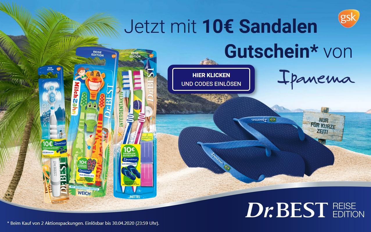 2 Aktionspackungen Dr. Best Reise-Edition kaufen, 10€ Gutschein für Sandalen-Händler ipanema-shop.de erhalten(kein MBW, keine Versandkosten)