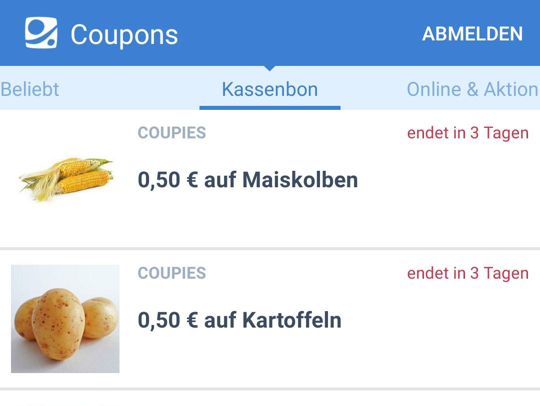 Je 0,50€ Cashback auf Kartoffeln und Mais bei Coupies (ab 1,50€)